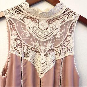 ALTAR'D STATE Lace Sleeveless Ruffle Dress SZ M